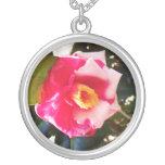 Collar de la flor rosada y blanca
