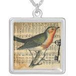 Collar de la llave del pájaro del amor del vintage