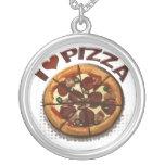 Collar de la plata del amor de la pizza