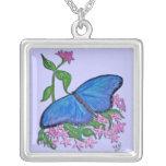 Collar de la plata esterlina - azul de la mariposa