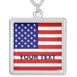 Collar de la plata esterlina de la bandera america