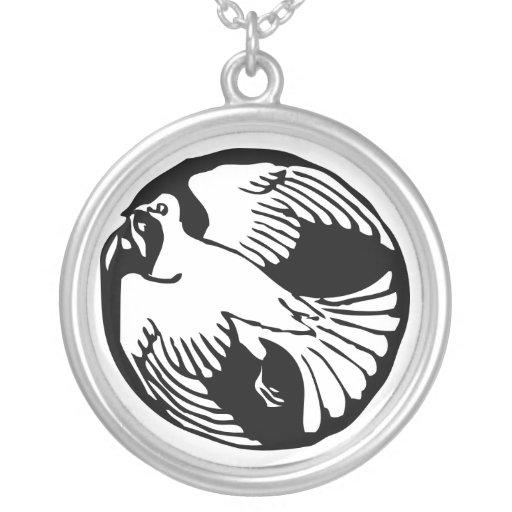 Collar de la plata esterlina de la paloma de la pa