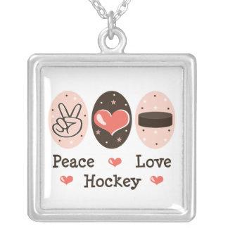Collar de la plata esterlina del hockey del amor d