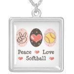 Collar de la plata esterlina del softball del amor