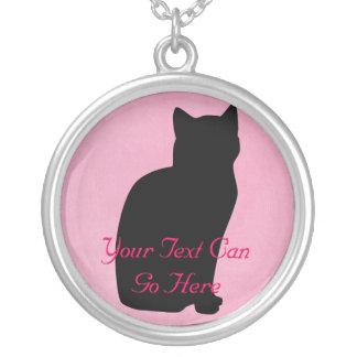 Collar de la silueta del gato rosado y negro