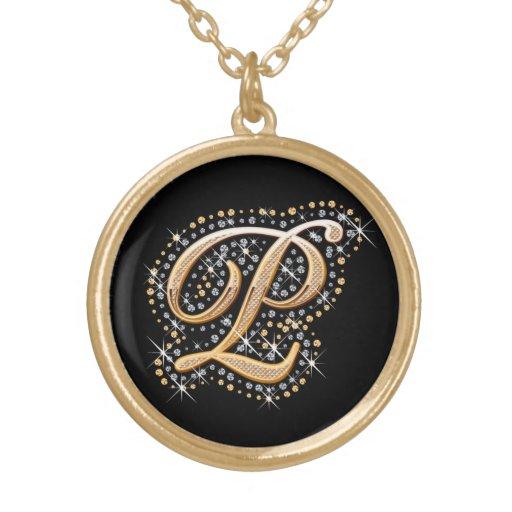 """Collar de oro de la inicial """"P"""""""