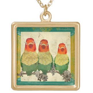 Collar de oro de los pájaros del amor del vintage
