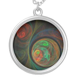 Collar de plata abstracto verde del renacimiento