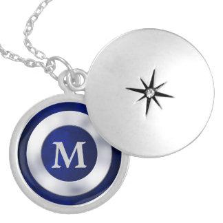 Collar de plata azul del monograma