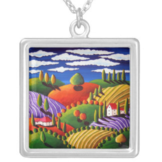 Collar de plata colorido del paisaje toscano
