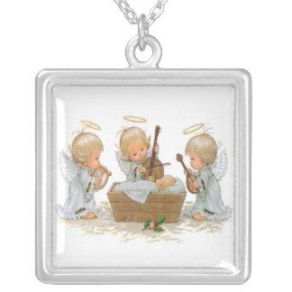 Collar de plata de los ángeles del navidad