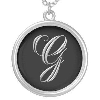 Collar de plata inicial del monograma de G