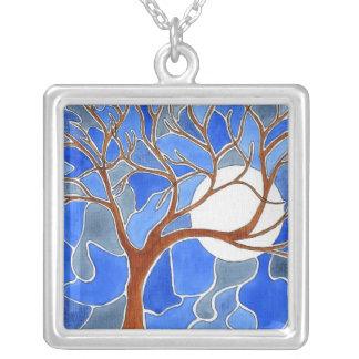 Collar del arte del árbol y de la luna - azul