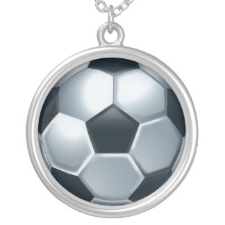 Collar del balón de fútbol de plata esterlina