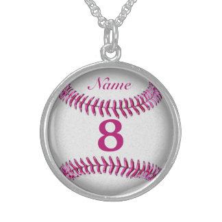 Collar del béisbol de la plata esterlina con NOMBR