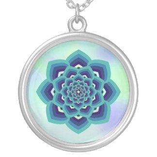 Collar del colgante de la mandala de Lotus azul