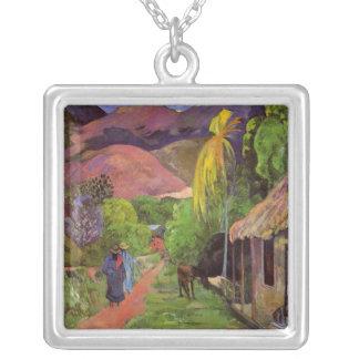 """""""Collar del de Tahití"""" - Paul Gauguin de la ruda Colgante Cuadrado"""