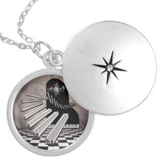 Collar del Locket de la plata esterlina del piano