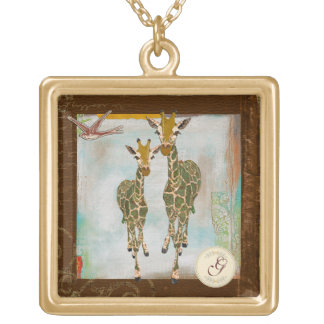 Collar del monograma de las jirafas del oro