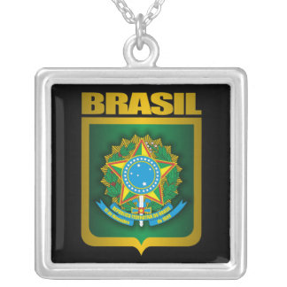 """""""Collar del oro del Brasil"""" Colgante Cuadrado"""