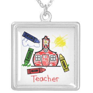 Collar del profesor - dibujo de creyón de la escue