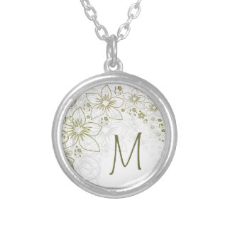 Collar del regalo del monograma para el verde y or
