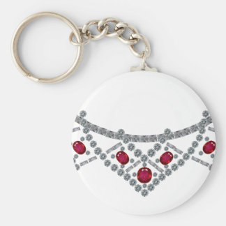 collar del rubí del diamante de los años 50 llavero personalizado