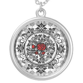 Collar del vintage de la vid del rosa rojo