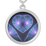 Collar estéreo de la púrpura del fractal del coraz