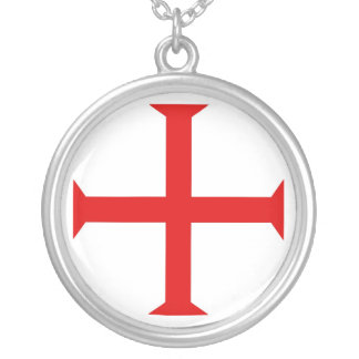 Collar esterlina de la placa de plata de Templar d