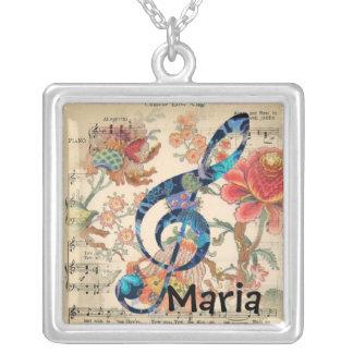 Collar floral del cuadrado de la música del vintag