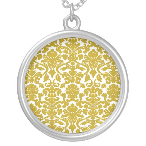 Collar floral del damasco del vintage del oro