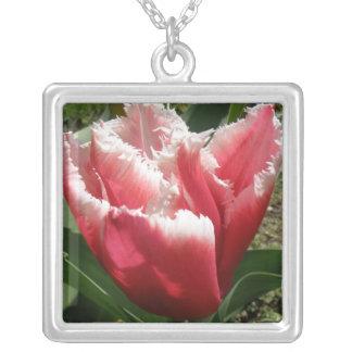 Collar franjado rosa del tulipán