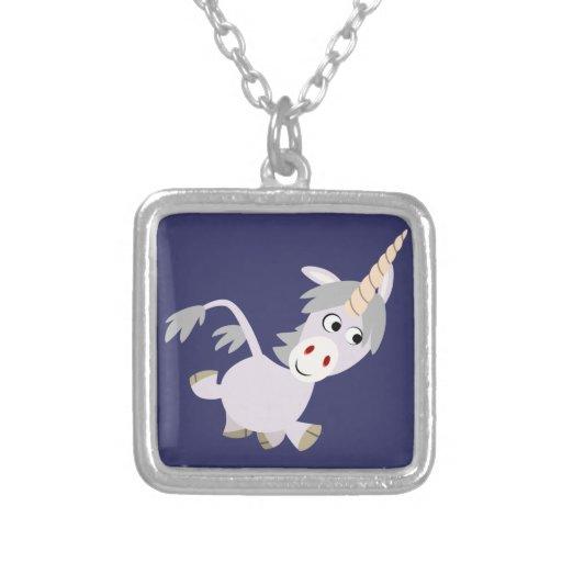 Collar gracioso lindo del unicornio del dibujo ani