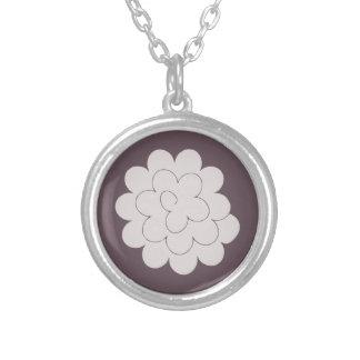 collar gray peony on bottom plum round pendant necklace