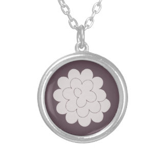 collar gray peony on bottom plum silver plated necklace