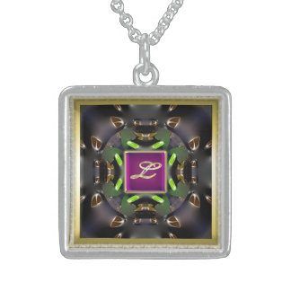 Collar L-Multi del cuadrado de la plata esterlina