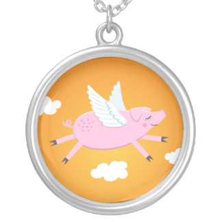 Collar lindo del dibujo animado del cerdo del vuel