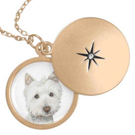 Collar lindo del oro del perro de Westie