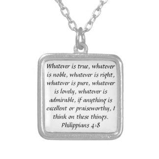 Collar loable del verso de la biblia del 4:8 de lo