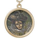 Collar Máscara-Verde del damasco del oro del