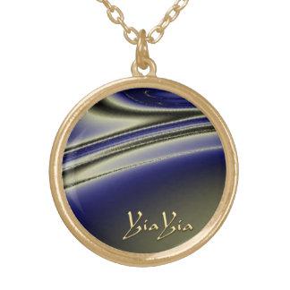 Collar negro de YiaYia y azul abstracto del diseño