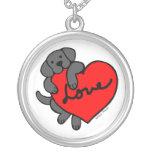 Collar negro del dibujo animado de Labrador y del