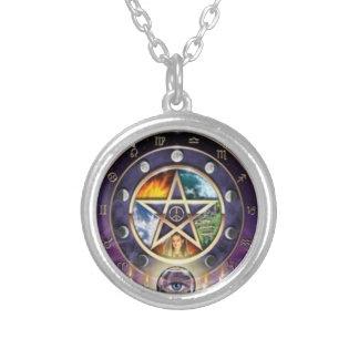 Collar pagano del zodiaco del pentagram de Wiccan