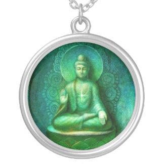 Collar pendiente redondo de Buda del arte verde de