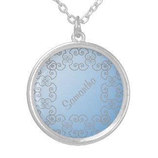 Collar personalizado azul de plata de la elegancia