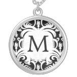 Collar personalizado damasco del monograma