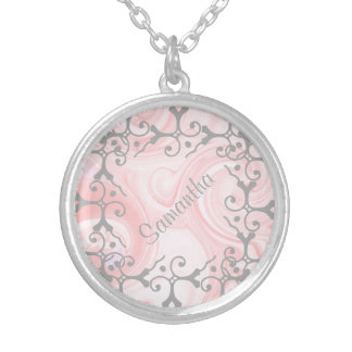 Collar personalizado remolino de plata del rosa de