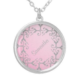 Collar personalizado rosa de plata de la elegancia