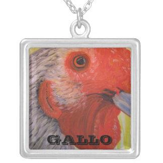 Collar, pintura al óleo del gallo colgante cuadrado